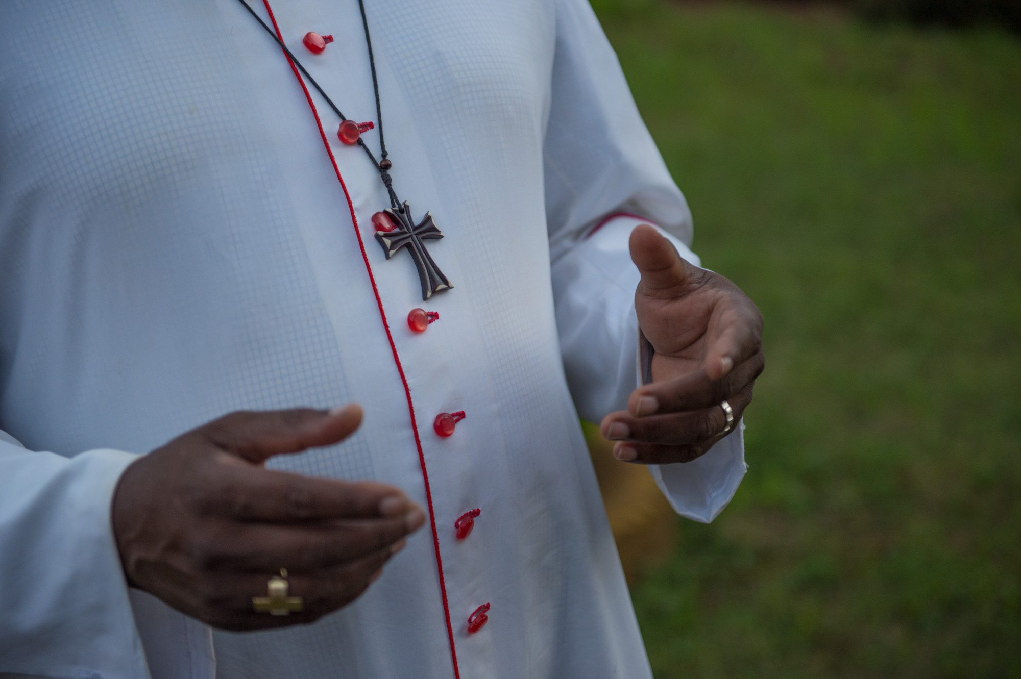 Bishop Eduardo of South Sudan's hands.