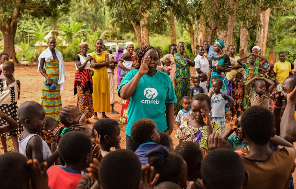 Children in child friendly space with Catherine, the head of child protection in Yambio.