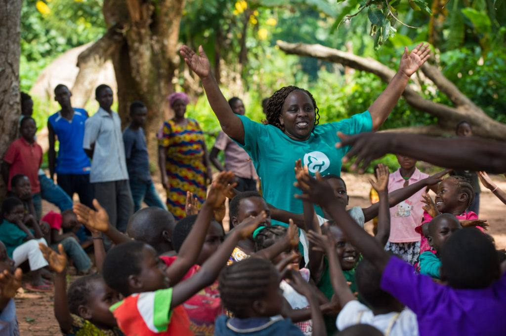 Catherine is the head of our child protection team in South Sudan. Here she joins the children in a game in a child friendly space.