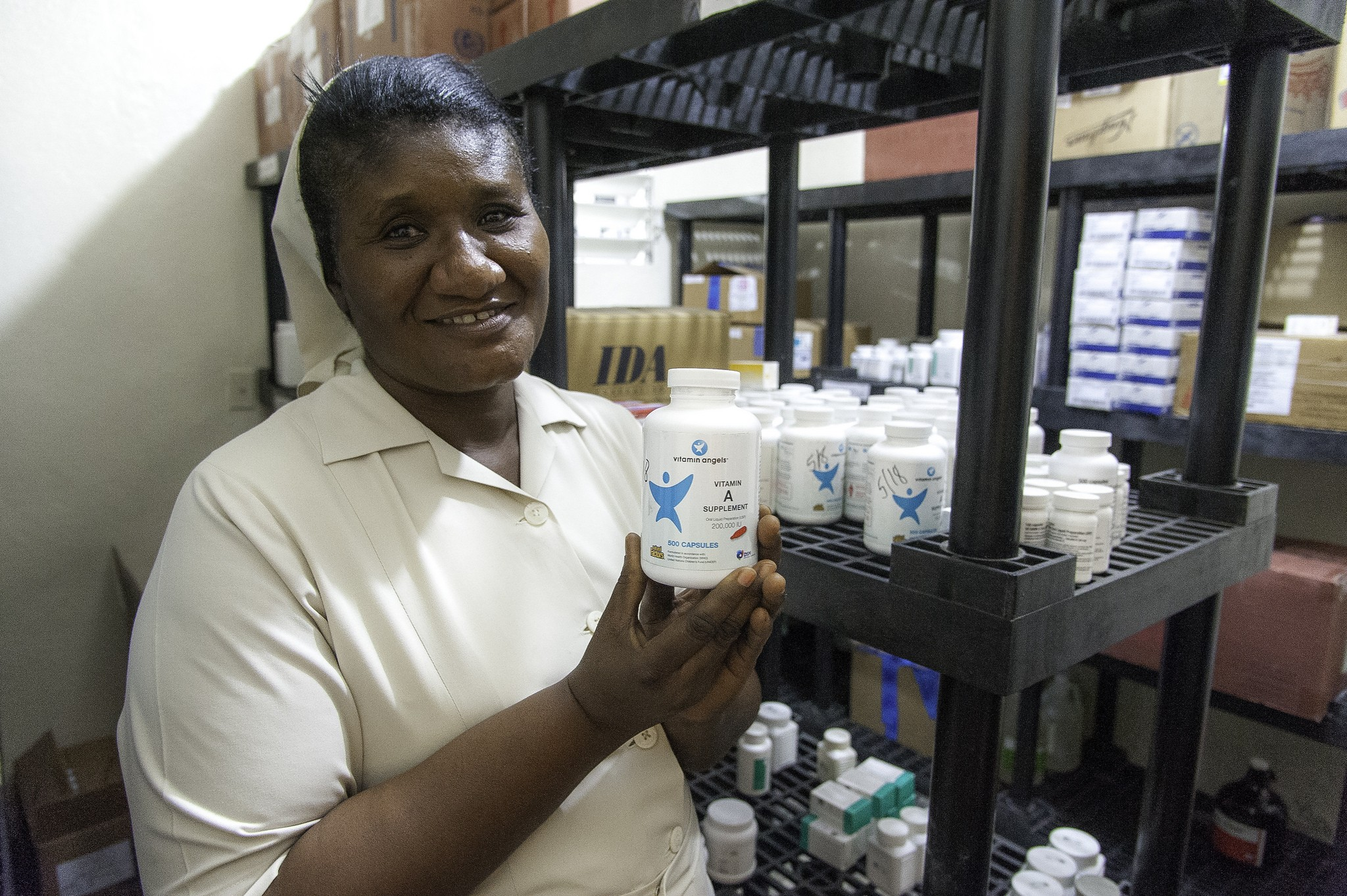 Sister Mathilde shows pride in the medicines they have available