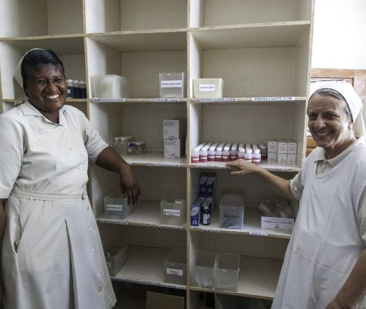 Sisters Mathilde and Sister Cecelia are happy with new medicines that arrived