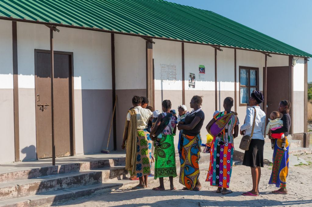 Women waiting to be seen at the rural health center in Mwandi, Zambia