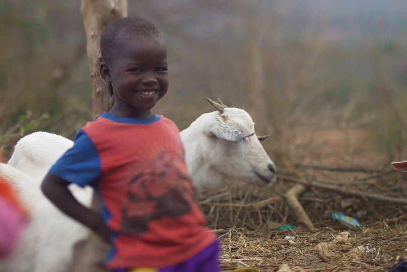Happy Ruth with goat