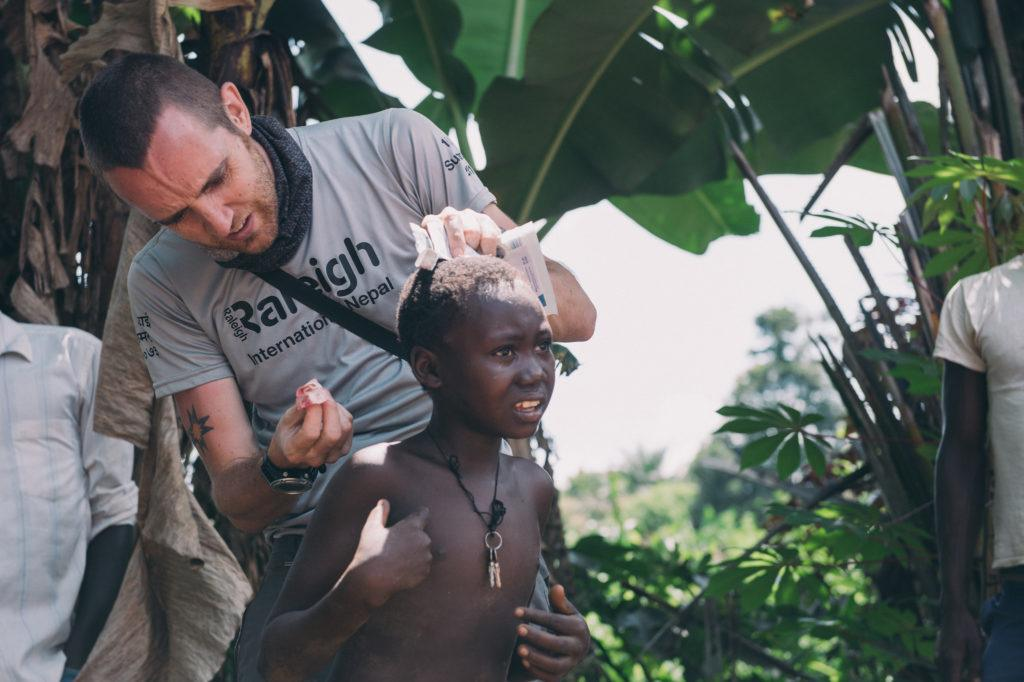 Dr. Matthew Jones cares for a young girl in South Sudan