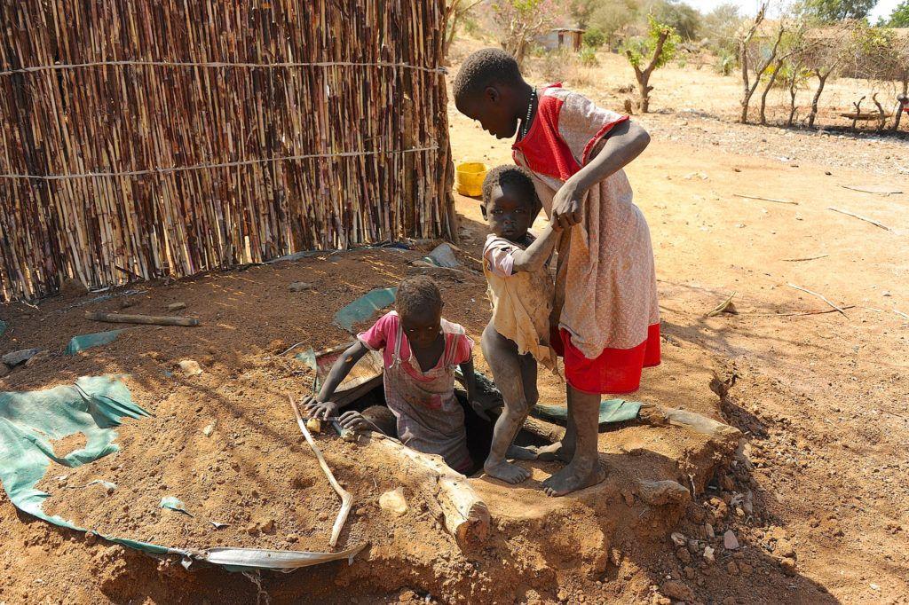Children taking cover - Heart of Nuba Screening
