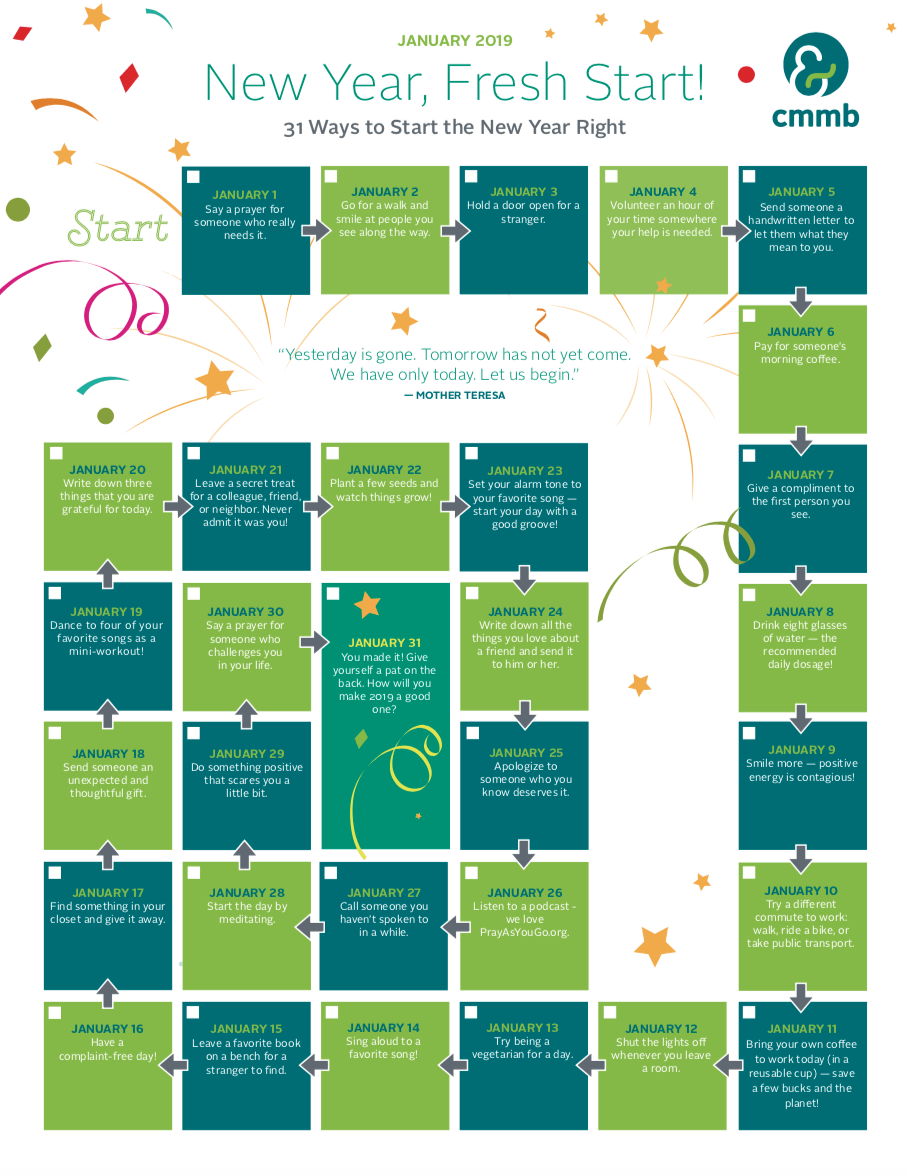 Fun New Year's Resolution Calendar