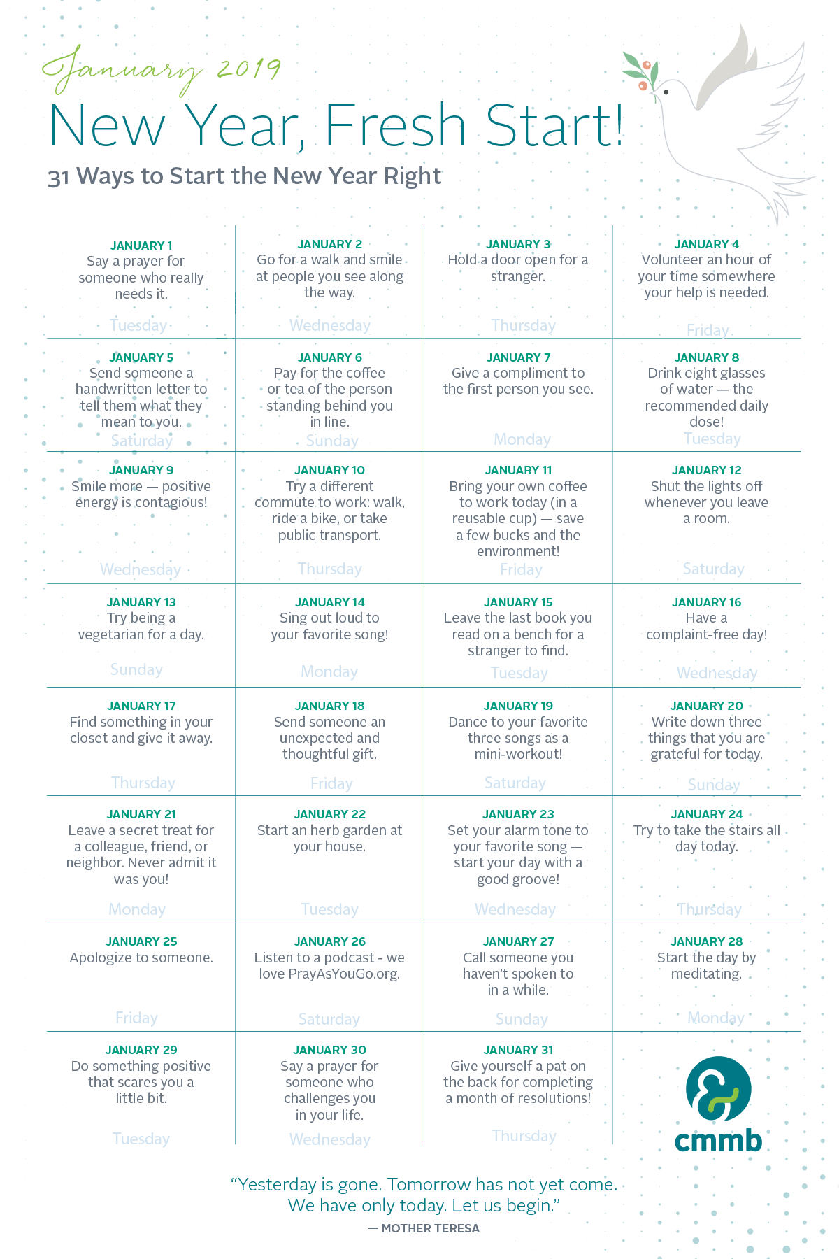 Here is our new year's resolution calendar for you to download for free