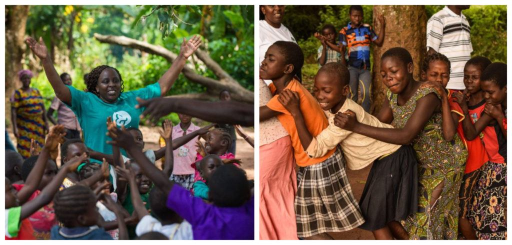 A two image collage featuring child play in action!