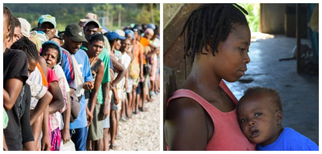 Collage featuring two photos in Haiti. (left) a line of community members (right) a mother and child