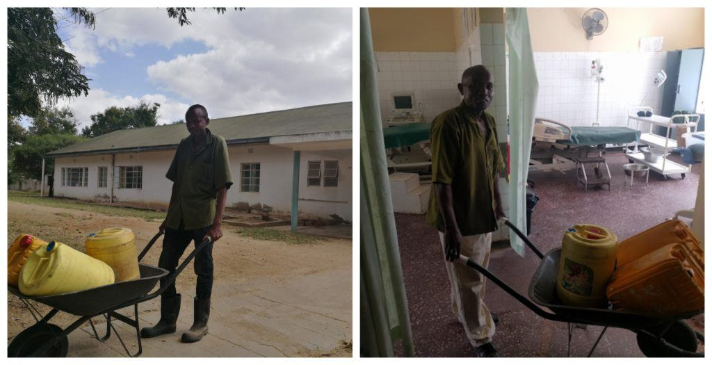 A collage of two photos. One featuring Stephen and one featuring Sammy. Both water collectors for the Mutomo Mission Hospital in Kenya. Here they pose with their wheelbarrows used to transport water