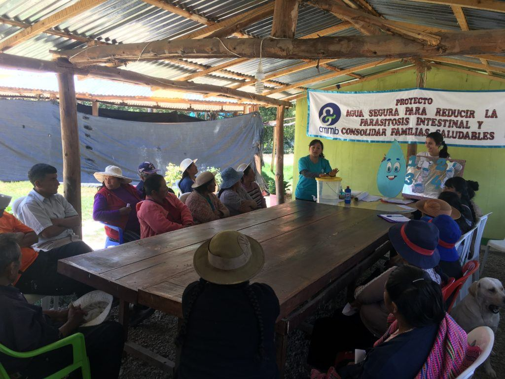 Gina teaching a formal training session about WASH to community members in Peru