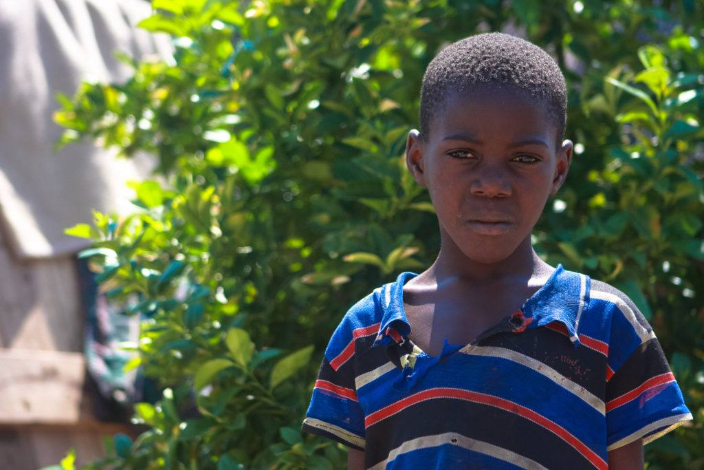 A young boy from Zambia stands in front of a green tree wearing a striped shirt
