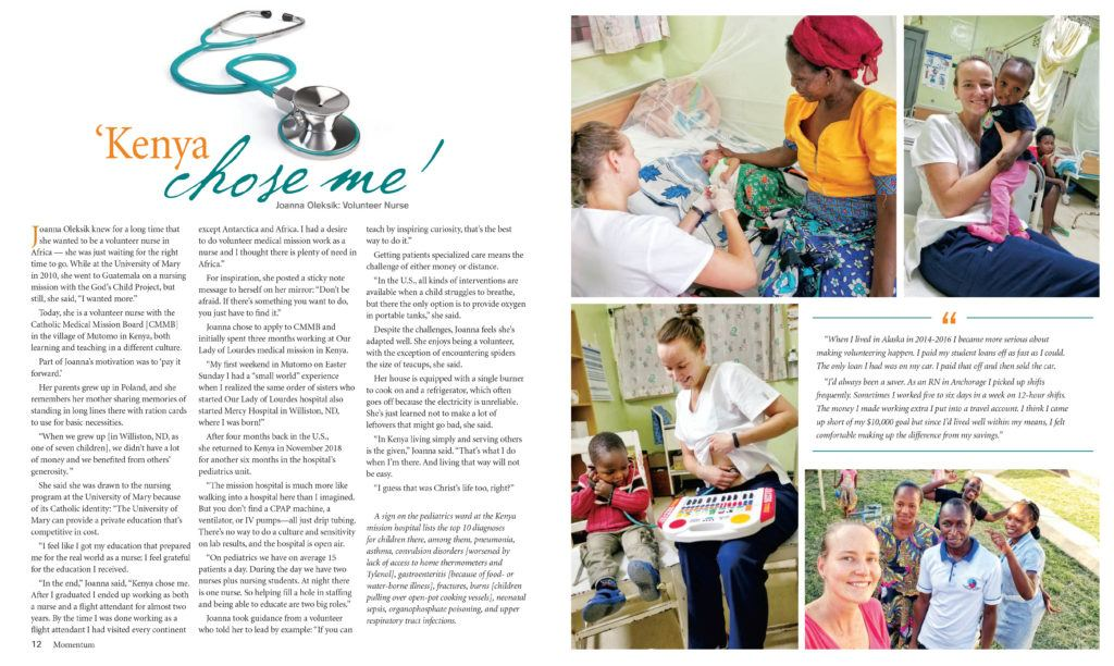 Volunteer and Aurora Fellow was featured in a magazine. This photo is filled with the text and photos of Joanna's story.