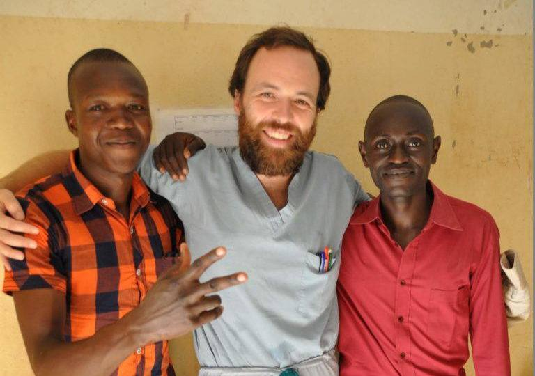 Dr. Dan with two of his students