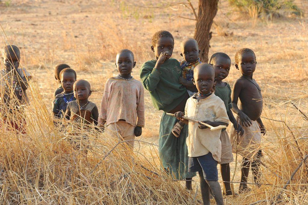 Children standing in the Nuba Mountains of Sudan