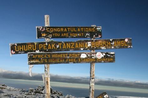 An image of the peak at Mt. Kilimanjaro