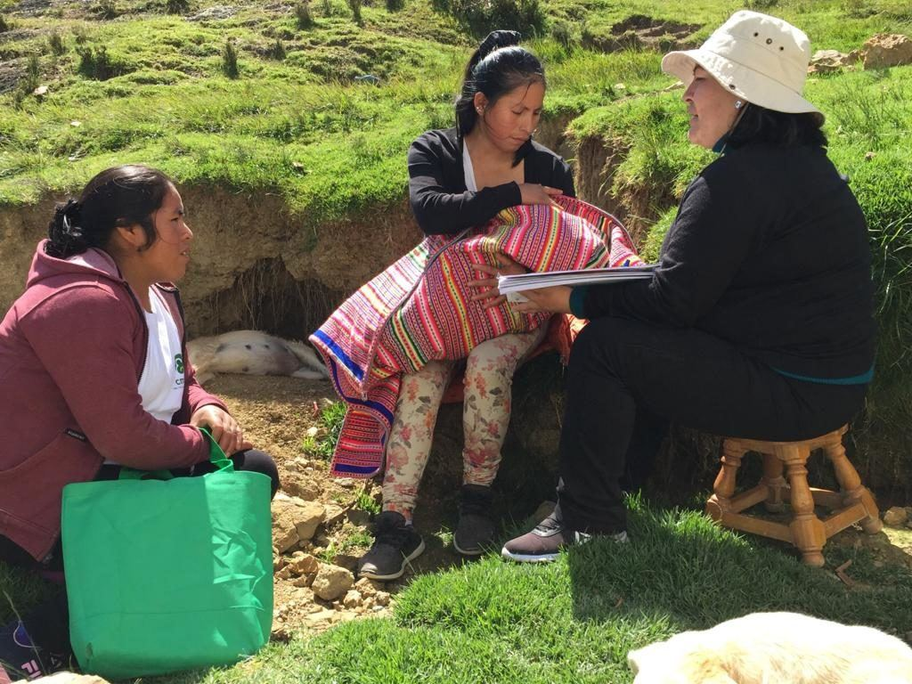 Promotora Marizol, a community health promoter, a cmmb nurse and a mother with her baby learning about vaccines and their importance