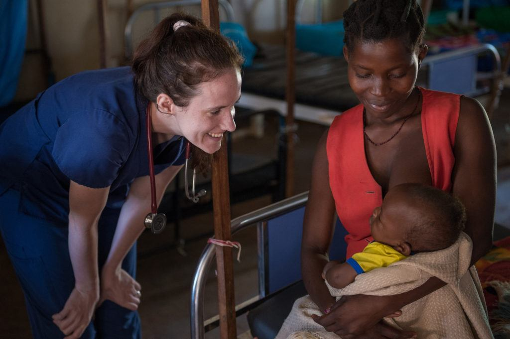Sarah caring for a patient in Nzara, South Sudan