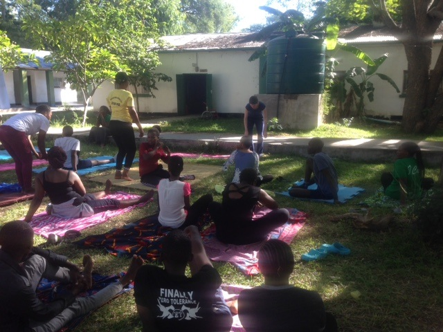 Yoga being led at the Mwandi Mission Hospital by our volunteer, Alyson Rockhold