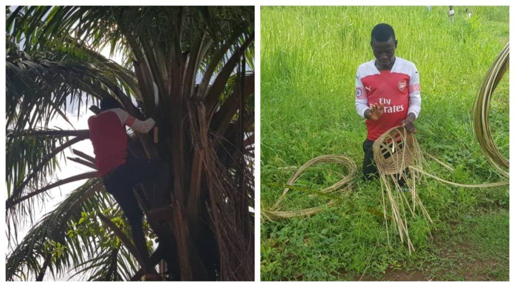 A collage featuring a community youth retrieving materials needed to create baskets and another image of him creating the basket