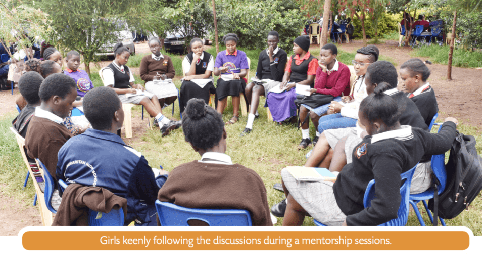 An image featuring a mentorship meeting in Kenya. The image has text that reads,