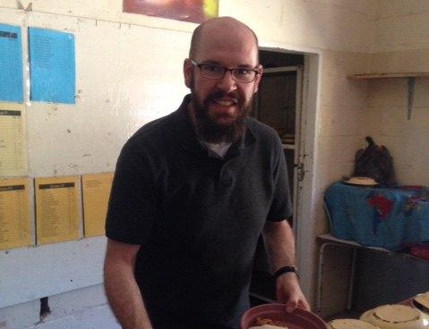 Brian Rockhold making lunches for children in Mwandi Zambia