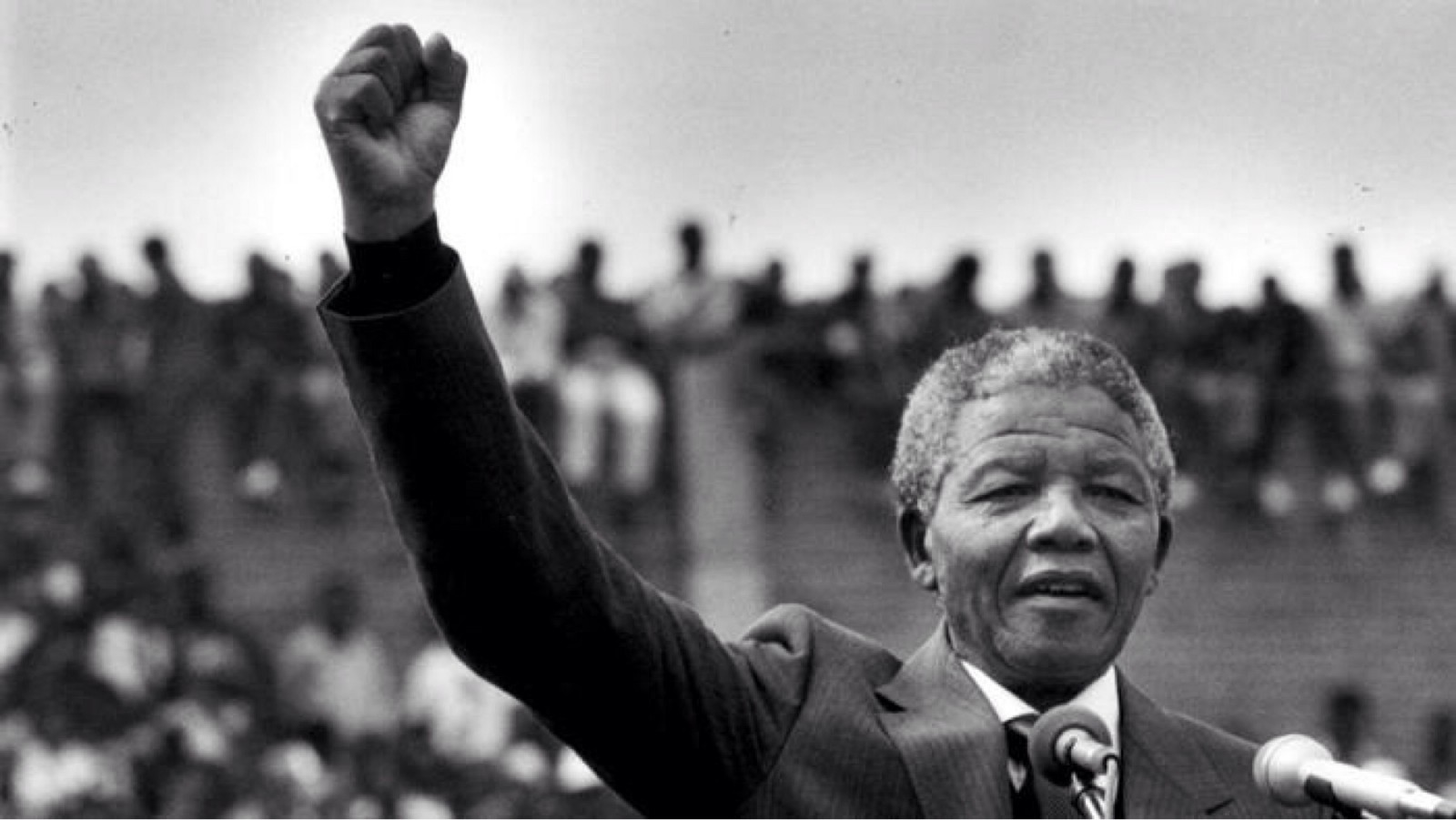 nelson mandela with arm up