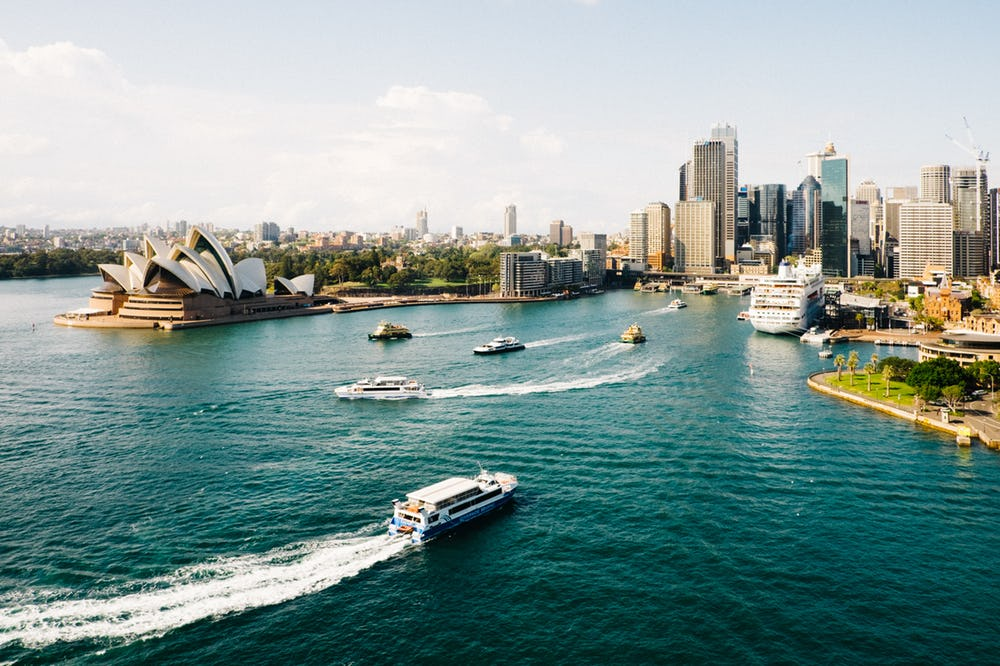 Image of Australia, it features the city, the water way, and the opera house