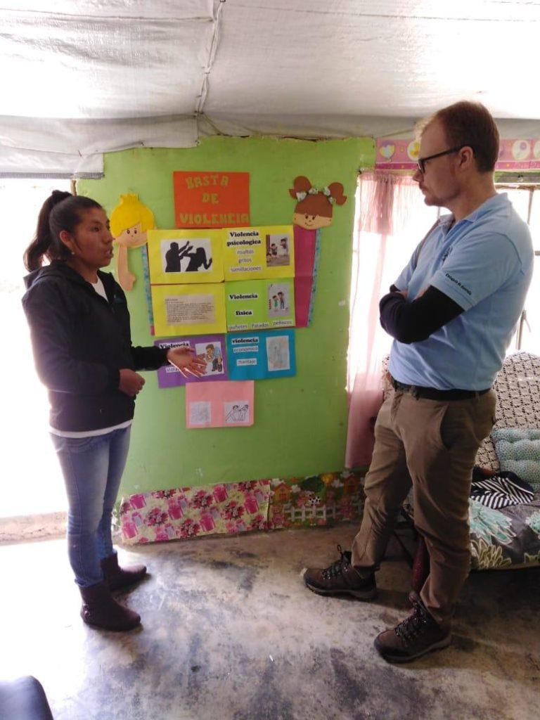 CMMB staff members shares project information and facts with a member of the Australian embassy in Peru