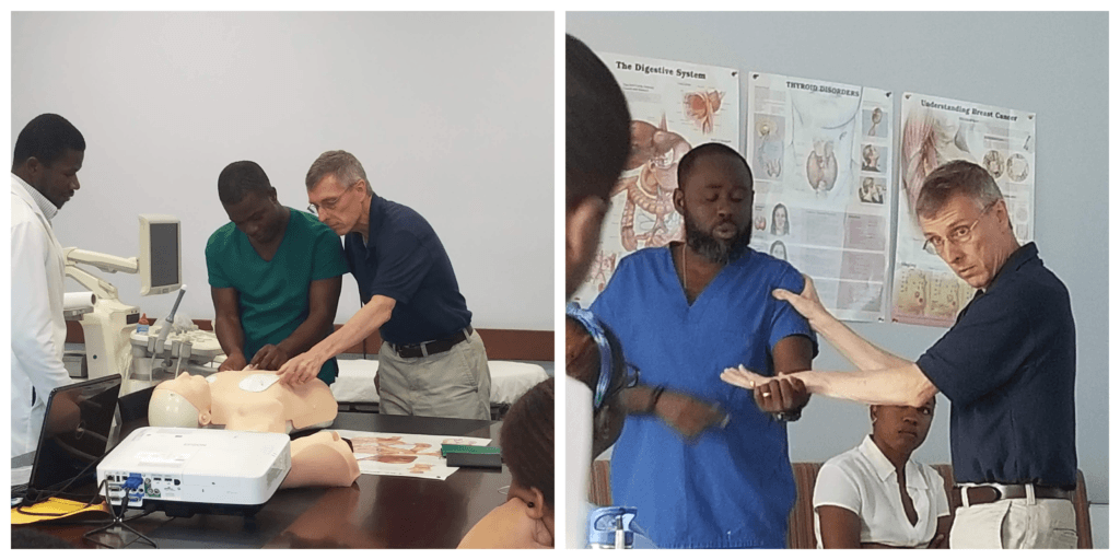 Collage of Dr. Stephens presenting in Haiti on a medical Mission trip
