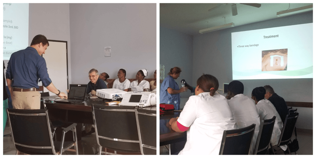 A collage of Dr. Zach Henz and Tracy Rock presenting at the BJSH in Haiti