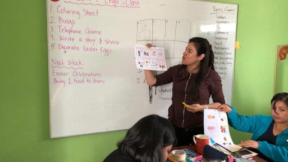 A CMMB staff member in Peru participating in an English Class