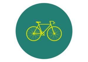 Icon featuring a yellow bike