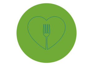 Icon featuring a fork surrounded by a green/blue heart