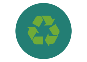 Icon featuring a recycling icon in green