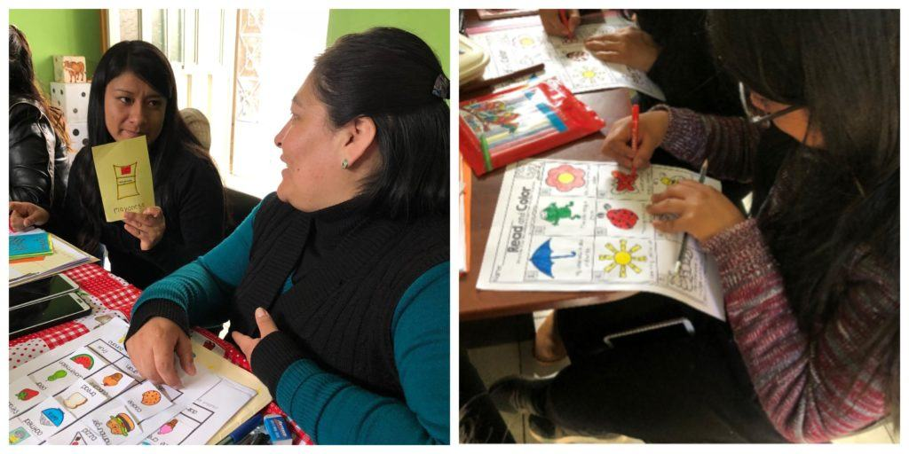 a collage of women in Peru taking an English class