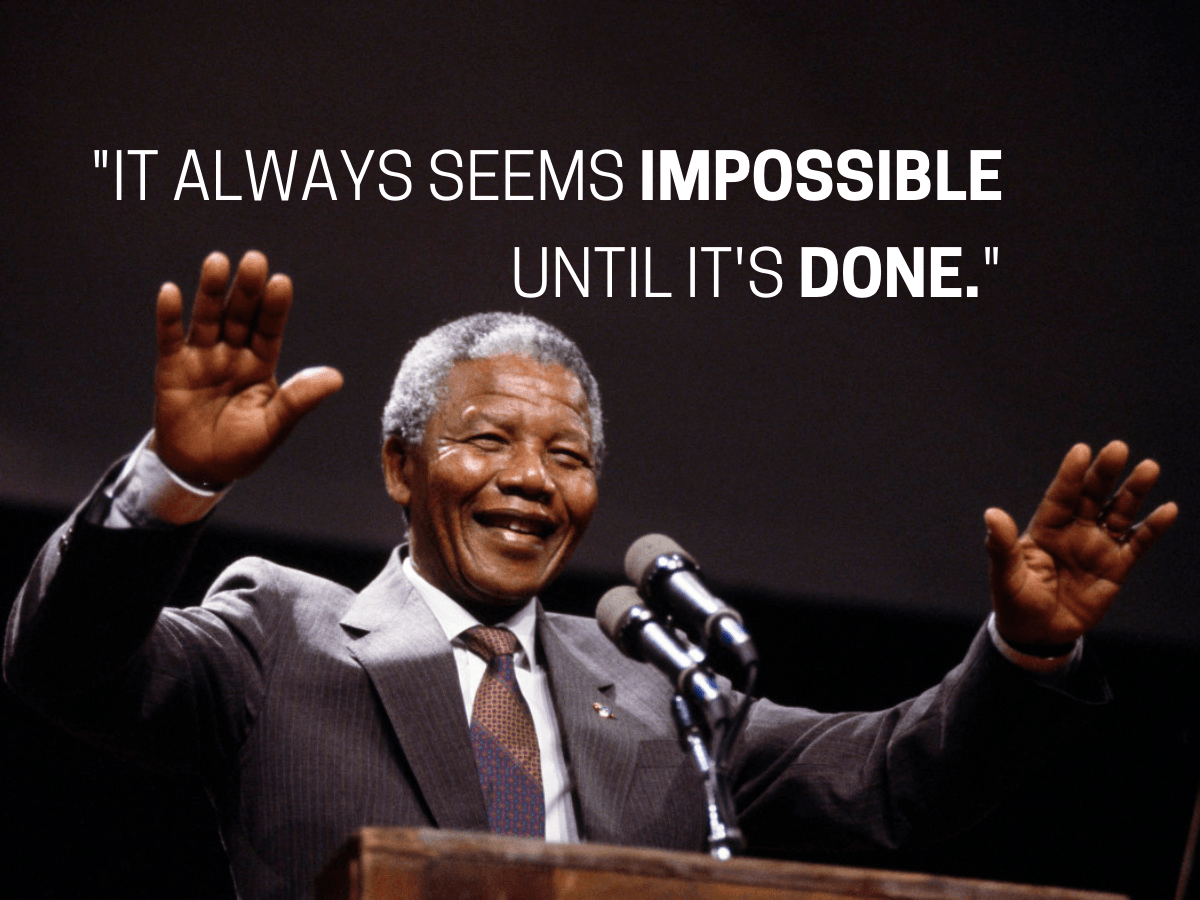 Image of Nelson Mandela with the text,