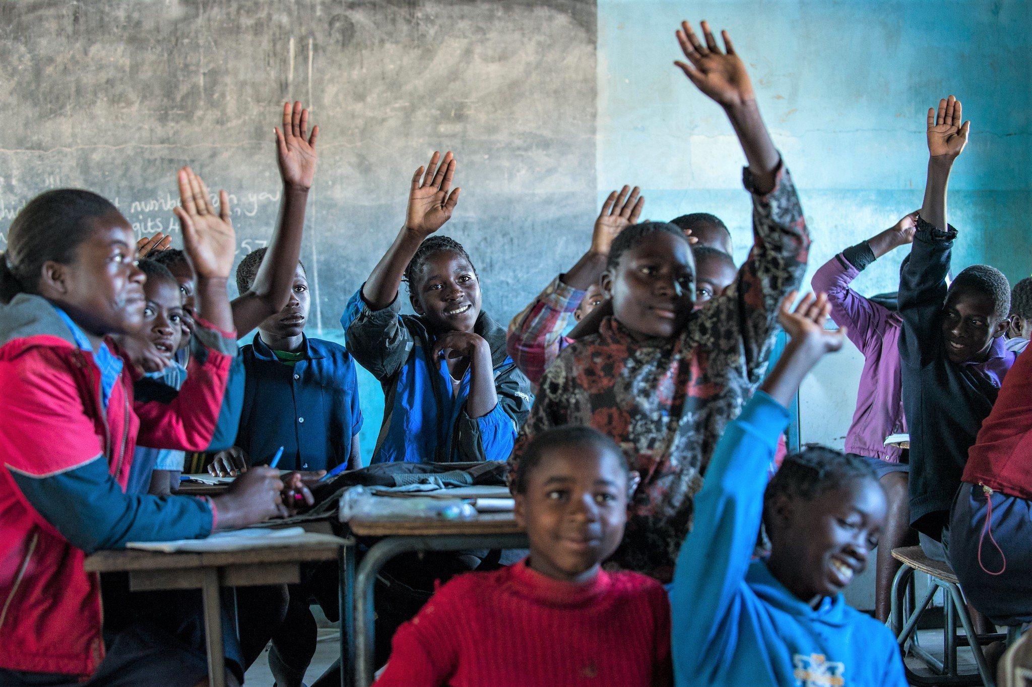 school children in classroom, mwandi, zambia