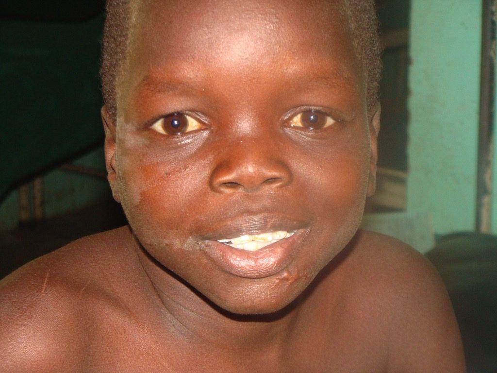 A child smiles