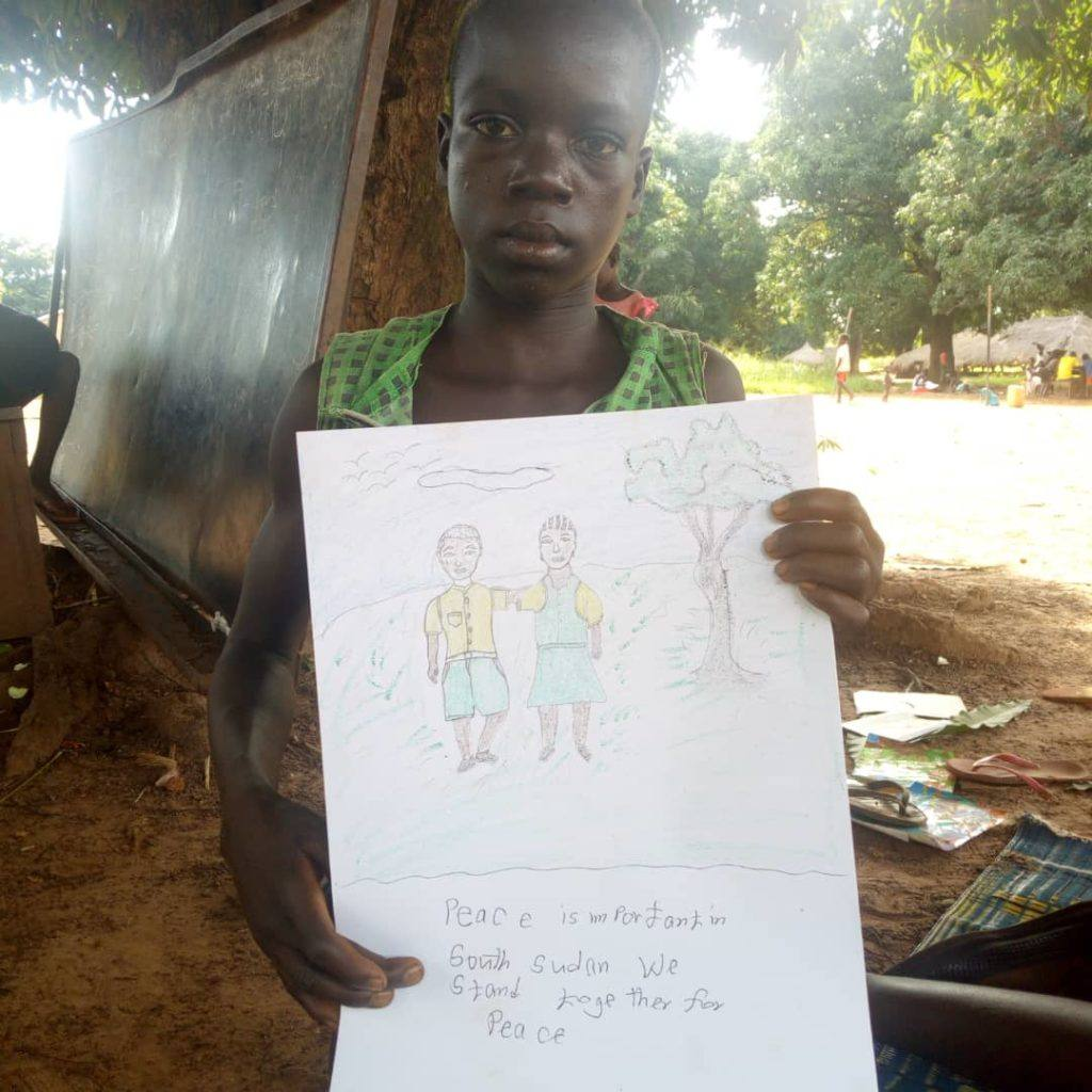 This child draws that children in South Sudan stand together for peace