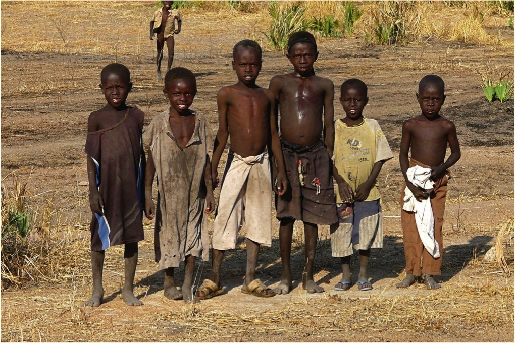 Children in the Nuba Mountains of Sudan standing outside