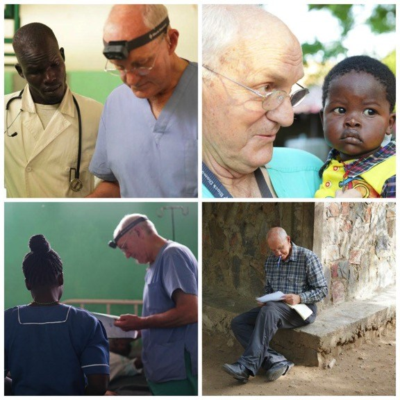 Collage of Dr. Jim working at the mother of mercy hospital in Sudan