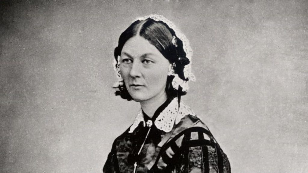 Florence Nightingdale is a female humanitarian. This is a black and white photo of her