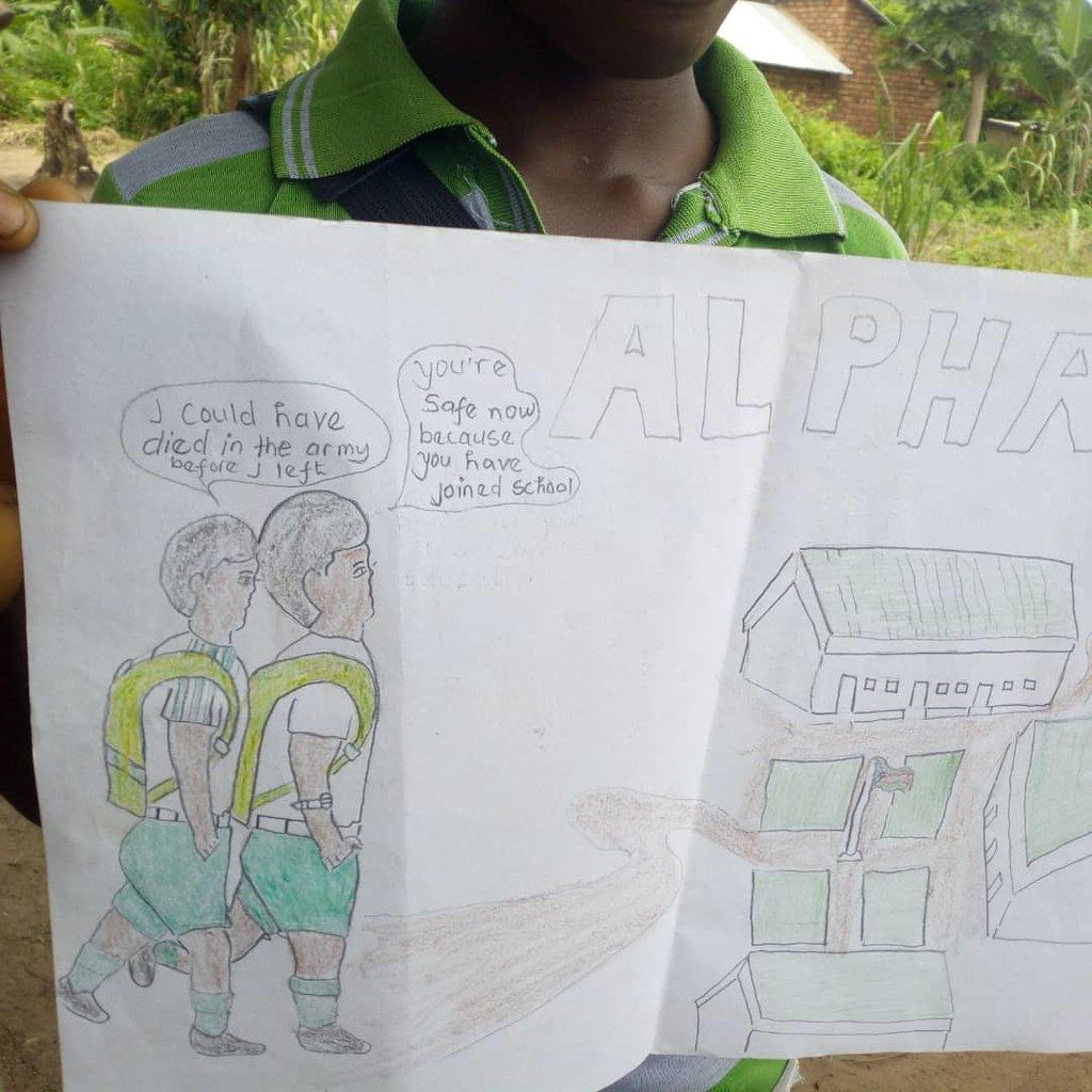 A drawing created by a child in South Sudan. It shows that peace is feeling safe at school