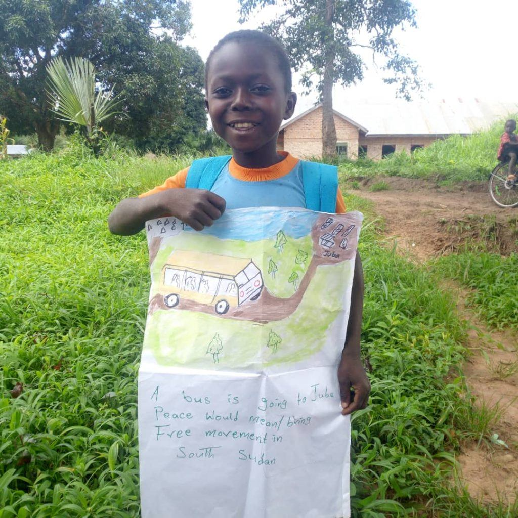 Peace means free movement. A little girl holds her drawing of a bus traveling to Juba.