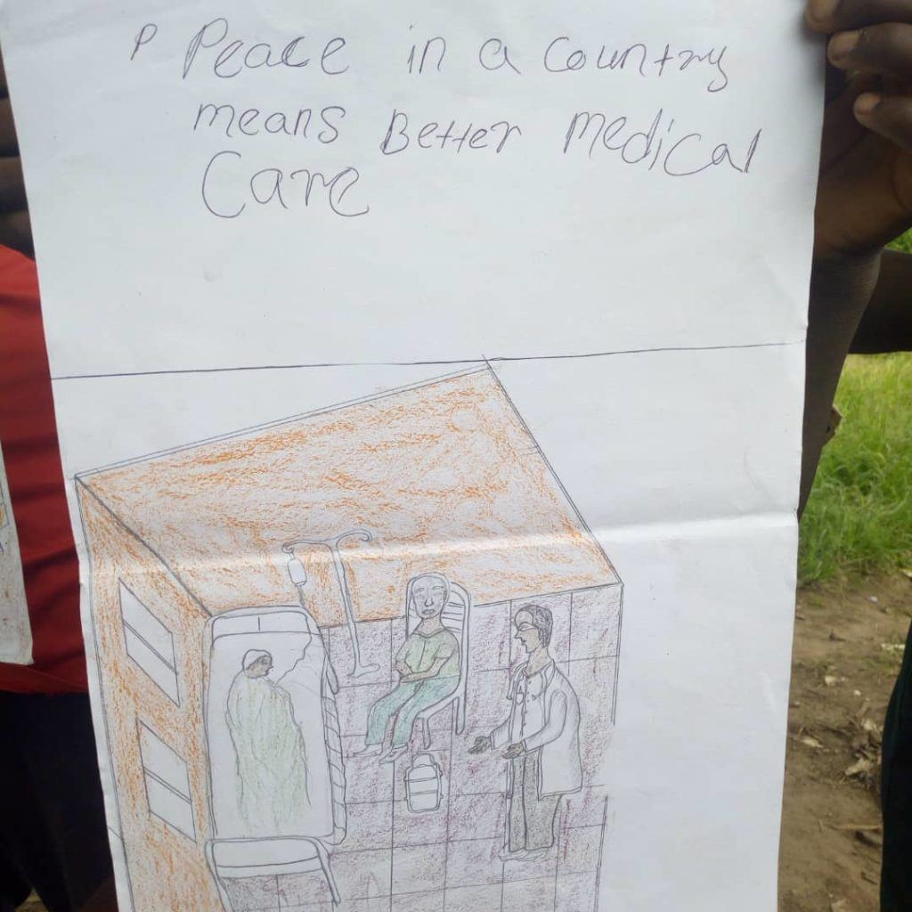 Peace means medical care for children in South Sudan. This picture was drawn by a child in South Sudan