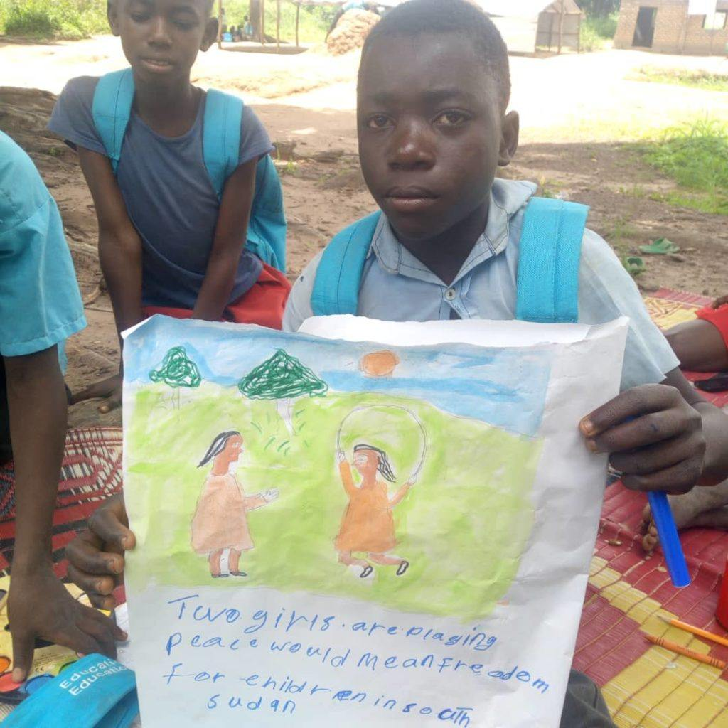 Peace means playing and freedom in South Sudan. This picture was drawn by a child in South Sudan