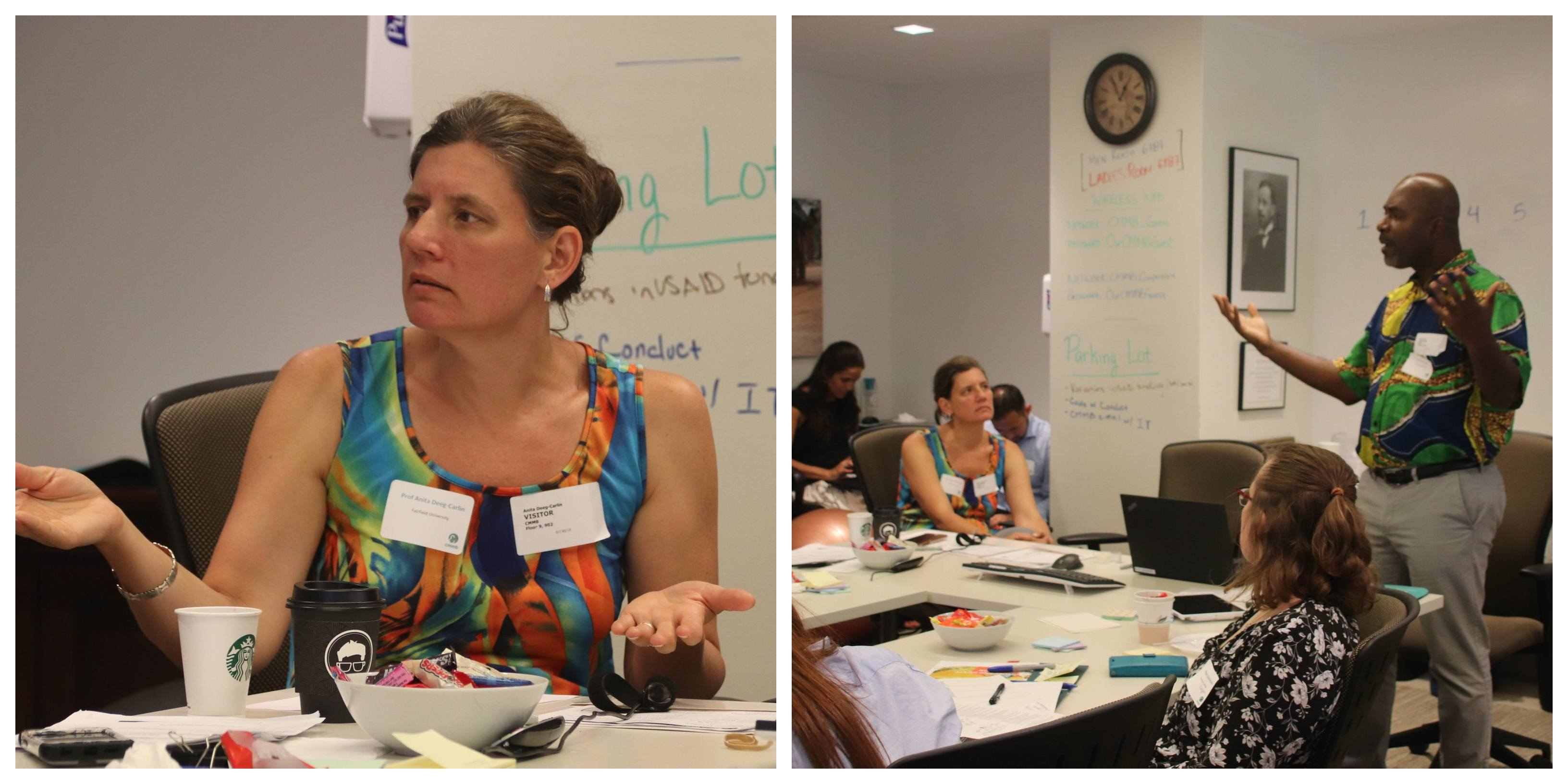 Collage featuring Alfred Babo and Proffessor Anita Deeg Carlin presenting at the volunteer orientation