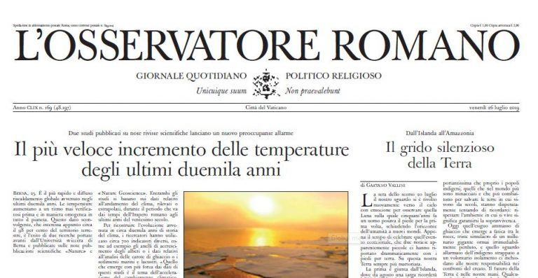 Image of the newspaper cover of L'Osservatore Romano, the official newspaper of the vatican