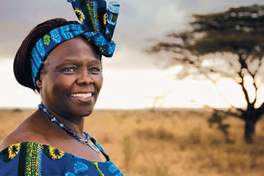 Wangari Maathai, a female humanitarian poses outside in front of a tree.